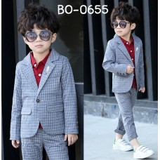 BO0655 ชุดสูทเด็กผู้ชายออกงาน เสื้อคลุมสูทแขนยาว และกางเกงขายาว ลายตารางสีเทา (2ชิ้น)