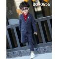 BO0656 ชุดสูทเด็กผู้ชายออกงาน เสื้อคลุมสูทแขนยาว และกางเกงขายาว ลายตารางสีกรมท่า (2ชิ้น)