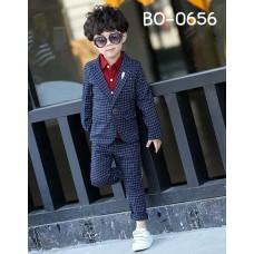 BO0656 ชุดสูทเด็กผู้ชายออกงาน เสื้อคลุมสูทแขนยาว และกางเกงขายาว ลายตารางสีกรมท่า (2ชิ้น) S.130