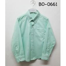 BO0661 เสื้อเชิ๊ตเด็กผู้ชาย แขนยาวคอปกติดกระดุม แต่งกระเป๋า สีเขียวมิ้นท์