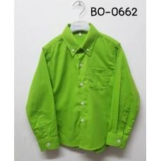 BO0662 เสื้อเชิ๊ตเด็กผู้ชาย แขนยาวคอปกติดกระดุม แต่งกระเป๋า สีเขียวตองอ่อน