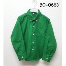 BO0663 เสื้อเชิ๊ตเด็กผู้ชาย แขนยาวคอปกติดกระดุม แต่งกระเป๋า สีเขียวใบไม้