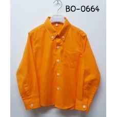 BO0664 เสื้อเชิ๊ตเด็กผู้ชาย แขนยาวคอปกติดกระดุม แต่งกระเป๋า สีส้ม