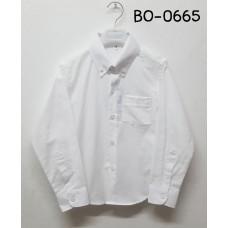 BO0665 เสื้อเชิ๊ตเด็กผู้ชาย แขนยาวคอปกติดกระดุม แต่งกระเป๋า สีขาว