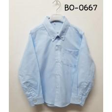 BO0667 เสื้อเชิ๊ตเด็กผู้ชาย แขนยาวคอปกติดกระดุม แต่งกระเป๋า สีฟ้าอ่อน