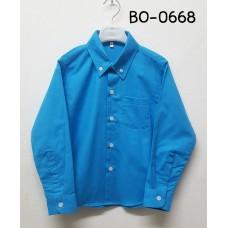 BO0668 เสื้อเชิ๊ตเด็กผู้ชาย แขนยาวคอปกติดกระดุม แต่งกระเป๋า สีฟ้าเข้ม