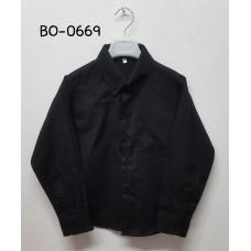 BO0669 เสื้อเชิ๊ตเด็กผู้ชาย แขนยาวคอปกติดกระดุม แต่งกระเป๋า สีดำ