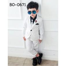 BO0671 ชุดสูทเด็กผู้ชายออกงาน เด็กโต สุดคุ้ม เสื้อสูท + เสื้อกั๊ก + กางเกงขายาว สีขาวออฟไวท์ล้วน (4ชิ้น)
