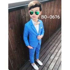 BO0676 ชุดสูทเด็กผู้ชายออกงาน เสื้อคลุมสูทแขนยาว และกางเกงขายาว สีน้ำเงิน (2ชิ้น)