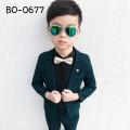 BO0677 ชุดสูทเด็กผู้ชายออกงาน เสื้อคลุมสูทแขนยาว และกางเกงขายาว สีเขียว (2ชิ้น)