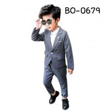 BO0679 ชุดสูทเด็กผู้ชายออกงาน ลายทางสีเทา (2ชิ้น)