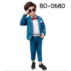 BO0680 ชุดสูทเด็กชายใส่ออกงาน สีเขียวน้ำทะเล (2ชิ้น)