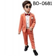 BO0681 ชุดสูทเด็กชายใส่ออกงาน สีส้ม (2ชิ้น)