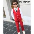 BO0693A ชุดกั๊กเด็กผู้ชายออกงาน เสื้อกั๊ก และกางเกงขายาวสีแดงสด (2ชิ้น)