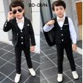BO0694 ชุดสูทเด็กผู้ชายออกงาน เสื้อคลุมสูทแขนยาว กั๊ก และกางเกงขายาว สีดำ (3ชิ้น)