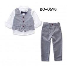 BO0698 ชุดเซ็ทเด็กผู้ชาย เสื้อเชิ๊ตสีขาวติดหูกระต่ายกรมท่า + เสื้อกั๊ก และกางเกงสีเทา (3ชิ้น)