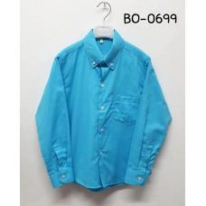 BO0699 เสื้อเชิ๊ตเด็กผู้ชาย แขนยาวคอปกติดกระดุม แต่งกระเป๋า สีฟ้า