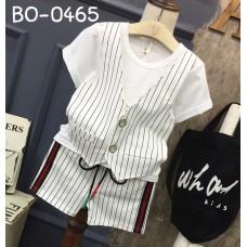 BO0465 ชุดเด็กผู้ชายออกงาน เสื้อคอกลมแขนสั้น กั๊กเย็บติด + กางเกงขาสั้น ลายทางสีขาว (2ชิ้น)