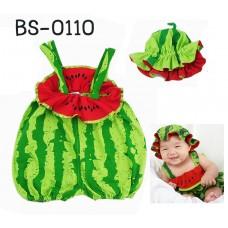 bs0110 ชุดบอดี้สูทเด็กแฟนซีเอี้ยมแตงโม+หมวก (2 ชิ้น)