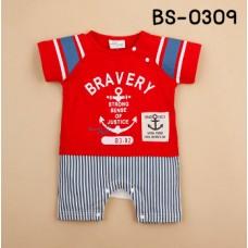 bs0309 ชุุดบอดี้สูทเด็กสกรีนลาย Bravery ลายสมอเรือ สีแดง S.70