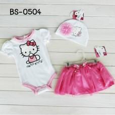 BS0504 ชุดบอดี้สูทเด็กผู้หญิง คิตตี้ขาเว้าสีขาว + กระโปรงสีชมพู + หมวกติดดอกไม้ (3ชิ้น)