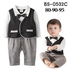 BS0532C ชุดบอดี้สูทเด็กผู้ชายออกงานแขนยาวเสื้อกั๊กเย็บติดสีดำ ติดหูกระต่าย กางเกงลายสีน้ำตาล S.95