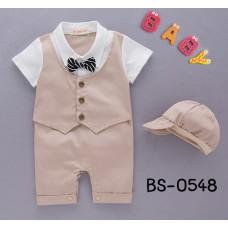 BS0548 ชุดบอดี้สูทเด็กผู้ชาย ออกงาน เสื้อกั๊กคอปกแขนสั้น ติดหูกระต่าย พร้อมหมวก สีกากี (2ชิ้น)