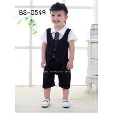 BS0549 ชุดบอดี้สูทเด็กผู้ชาย ออกงาน เสื้อกั๊กคอปกแขนสั้นติดเนคไท (ถอดออกได้) พร้อมหมวก สีกรมท่าเข้มจนดำ (3ชิ้น)