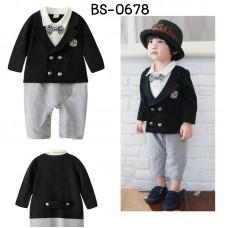 BS0678 ชุดบอดี้สูทเด็กผู้ชายใส่ออกงาน เสื้อสูทแขนยาวสีดำ ติดหูกระต่าย กางเกงสีเทา S.95