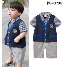 BS0730 ชุดบอดี้สูทเด็กผู้ชาย คอปกลายตารางขาวน้ำเงิน กางเกงสีเทา เสื้อกั๊กสีกรมท่าขอบน้ำเงิน