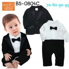 BS0804C ชุดบอดี้สูทออกงาน เด็กผู้ชาย คอปก แขนยาว ติดหูกระต่ายสีดำ เสื้อคลุมแขนยาวสีดำ (2ชิ้น)