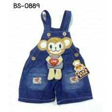 BS0889 เอี๊ยมยีนส์เด็ก ขาสั้น แต่งกระเป๋า ที่ปลายขา 2 ข้าง ปักหน้าลิง ตัวถือหัวใจ กระดิกได้ S.90