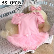 BS0915 ชุดบอดี้สูทแฟนซี เด็กผู้หญิง แขนสั้น สีชมพูอ่อน (ไม่รวมผ้าคาดผม) S.3-6 เดือน