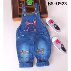 BS0923 เอี๊ยมเด็ก ลายกระต่ายหูกระดิก สายปรับได้ 2 ระดับ มีช่องใส่เข็มขัด ผ้ายีนส์เข้ม S.100