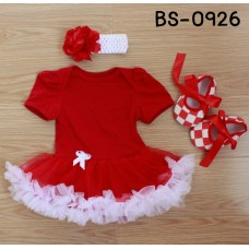 BS0926 ชุดบอดี้สูทแฟนซี เด็กผู้หญิงครบเซ็ท แขนสั้น สีแดง + ผ้าคาดผมติดดอกไม้ + รองเท้าลายตารางสีขาวสลับสีแดง (3ชิ้น)