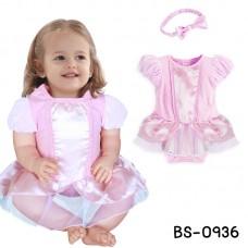BS0936 ชุดบอดี้สูทเด็กผู้หญิง แฟนซีเด็ก แนวเจ้าหญิง พร้อมผ้าคาดผม สีชมพู (2ชิ้น)