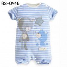 BS0946 ชุดบอดี้สูทเด็กผู้ชาย แขนสั้น ลายหมีถือลูกโป่งดาว ลายขวางสีฟ้า