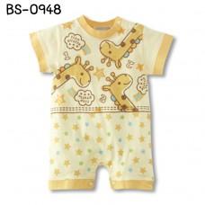 BS0948 ชุดบอดี้สูทเด็ก แขนสั้น ลายยีราฟ สีเหลือง