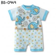 BS0949 ชุดบอดี้สูทเด็ก แขนสั้น ลายช้าง สีฟ้า