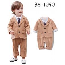 BS1040 ชุดบอดี้สูทเด็กผู้ชายแขนยาวออกงาน เนคไทสีม่วง พร้อมเสื้อสูทสีกากี (2ชิ้น)