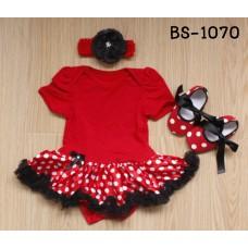BS1070 ชุดบอดี้สูทแฟนซี เด็กผู้หญิงครบเซ็ท แขนสั้น สีแดง + ผ้าคาดผมติดดอกไม้ + รองเท้าลายจุดสีขาวผูกโบว์สีดำ (3ชิ้น)