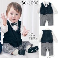 BS1090 ชุดบอดี้สูทเด็กผู้ชายออกงานแขนยาว ติดหูกระต่ายลายจุด พร้อมเสื้อกั๊กสีกรมท่า (2ชิ้น)