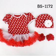 BS1172 ชุดบอดี้สูทแฟนซี เด็กผู้หญิงครบเซ็ท ลายจุดสีแดง + หมวก + ถุงเท้า (3ชิ้น)
