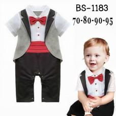BS1183 ชุดบอดี้สูทเด็กผู้ชาย ทักซิโด้หางยาวออกงานแขนสั้น ติดหูกระต่ายสีแดง สีเทาสลับสีดำ
