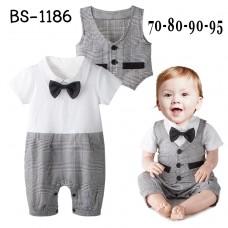 BS1186 ชุดบอดี้สูทเด็กผู้ชายออกงานแขนสั้นติดหูกระต่าย (ถอดออกได้) พร้อมเสื้อกั๊กสีขาวดำ (2ชิ้น) S.95