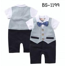 BS1199 ชุดบอดี้สูทเด็กผู้ชายใส่ออกงาน ติดหูกระต่ายลายดาว กั๊กเย็บติดสีฟ้า กางเกงสีกรมท่า