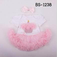 BS1238 ชุดบอดี้สูทแฟนซี เด็กผู้หญิงแขนสั้น ลายคัพเค้ก กระโปรงฟูฟ่องสีชมพู  พร้อมผ้าคาดผม (2ชิ้น) S/L