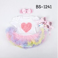 BS1241 ชุดบอดี้สูทแฟนซี เด็กผู้หญิงครบเซ็ท ลายหัวใจหลากสี + ผ้าคาดผม + รองเท้า (3ชิ้น)