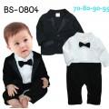 BS0804 ชุดบอดี้สูทออกงาน เด็กผู้ชาย คอปก แขนยาว ติดหูกระต่ายสีดำ เสื้อคลุมแขนยาวสีดำ (2ชิ้น)
