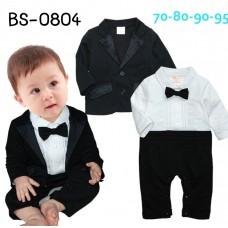 BS0804 ชุดบอดี้สูทออกงาน เด็กผู้ชาย คอปก แขนยาว ติดหูกระต่ายสีดำ เสื้อคลุมแขนยาวสีดำ (2ชิ้น) S.80